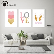 Allenjoy Easter Canvas Paintings Love Quotes Pink Golden Heart Rabbit Ear Baby Posters Minimalist Nursery Child Room Wall Charts
