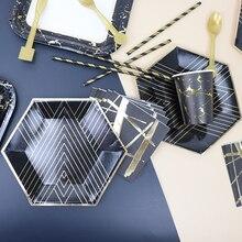 Одноразовая посуда из черной золотой фольги бумажные тарелки для вечеринки бумажная соломенная крафт-бумага вечерние декоративный для Бэйби шауэра товары для дня рождения