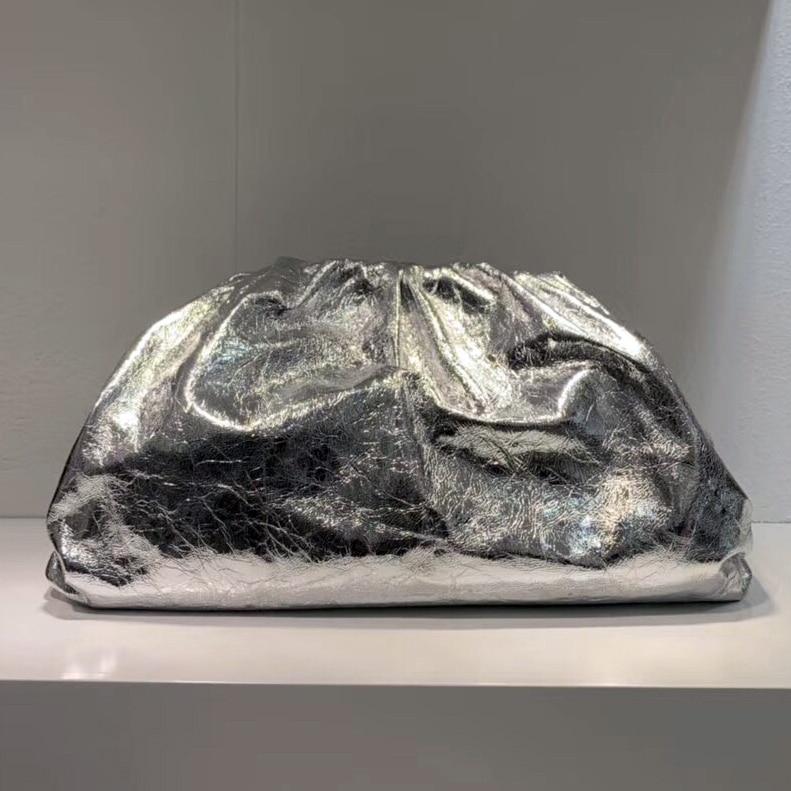 Moda famosa marca de lujo estilo mujeres bolsas bolsa nube bolsa brillante bolso de cuero genuino señora embragues piel de oveja calidad - 6