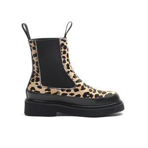 Image 2 - MORAZORA 2020 top quality horse hair ankle boots for women Leopard autumn winter boots slip on thick heels casual shoes woman