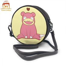 Pokemon Shoulder Bag Slowpoke Love Leather Teen Shopper Women Bags Trending Womens Mini Multi Purpose Round Purse