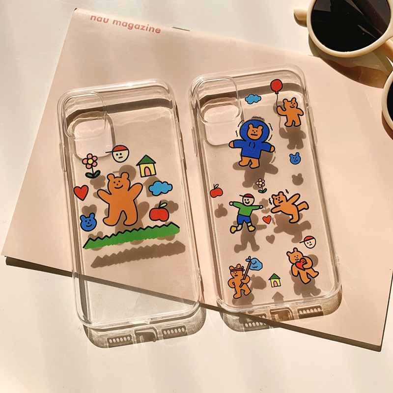 Cartoon Retro Simple Bear Doll Cute Phone Case For Iphone 11 Pro MAX X XR Case Silicone Cover For Coque Iphone 7 8 6S Plus Case