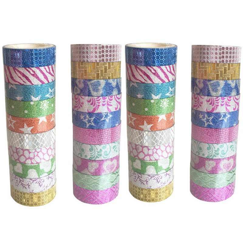 1 piezas Washi cinta conjunto brillo Color papelería japonesa Scrapbooking decorativo cintas cinta adhesiva Kawai Adesiva Decorativa