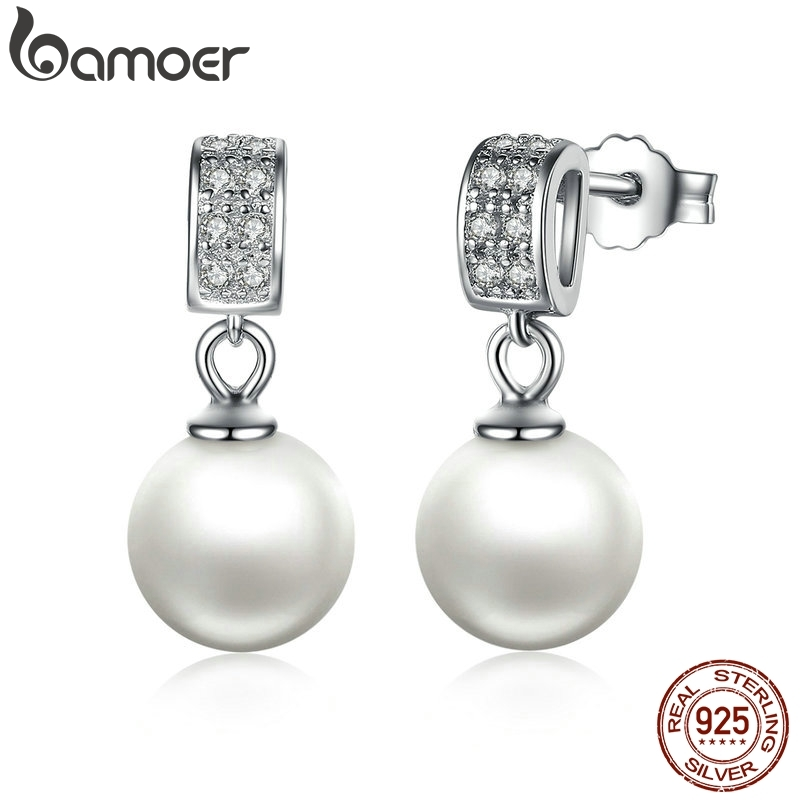 Drop Earrings Fine Jewelry Female Drop Earrings with Pearls Earrings 925 Sterling Silver Jewelry Mother's Day Gift SCE006