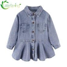 Детское джинсовое платье littlespring для девочек Персиковое