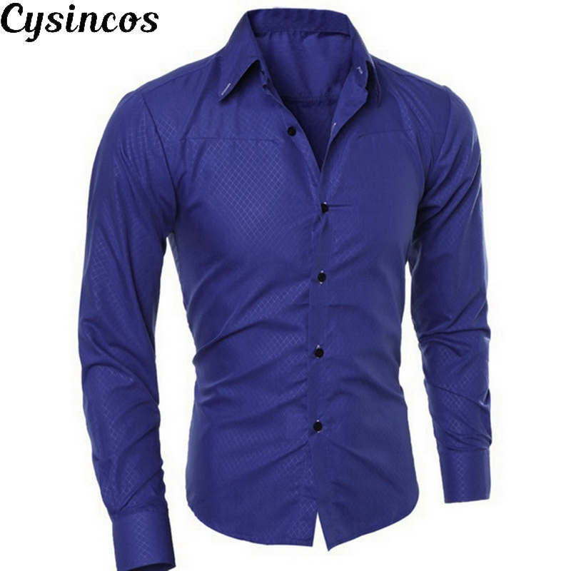 CYSINCOS Men Shirt Brand Cotton Solid Soft Men Shirt Long Sleeve Shirts Casual Slim Fit Hot Business 5XL Plus Size Male Clothing