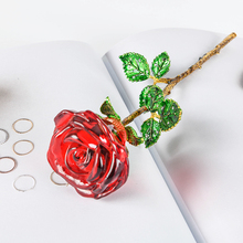 Fashion Crystal Red Rose Flower Figurines Craft Valentine's Day Christmas Gifts Wedding Home Table Decoration Ornament