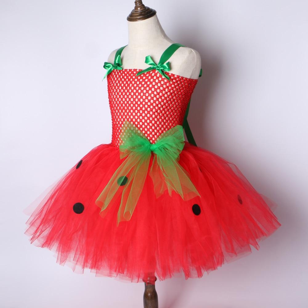 Girls Patry Dance Princess Costume Red Tutu Dress Girls 0-12Y Strawberry Design Baby Tutu Dress Birthday Clothing Children  2