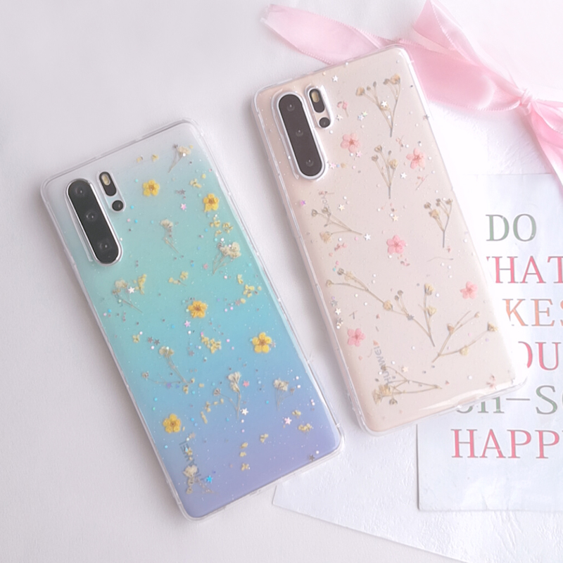 Real Dried Flower Case For Huawei P30 Pro P30 Glitter Transparent Funda For Huawei P20 Pro P20 P30pro Soft TPU Phone Accessories