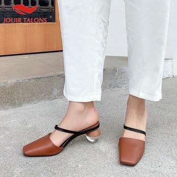 Fashion On Sale Big Size 43 Genuine Leather Woman Shoes Sandals Mules Pumps