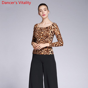 Image 4 - New Modern Dance Wear Adult Women Leopard 2 Type Neck Top Ballroom National Standard Waltz Jazz Dancing Practice Train Clothes