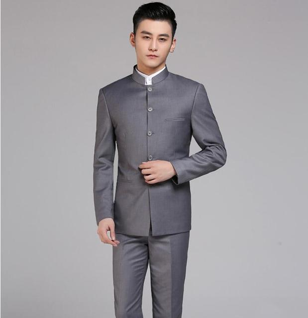 Mens Stand Collar Jacket Black Chinese Tunic Suit Tang Formal Dress Outwear