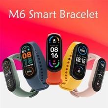 2021 m6 relógio inteligente pulseira banda monitor de pressão arterial fitness 5 tela colorida bluetooth smartwatch relógio inteligente horas