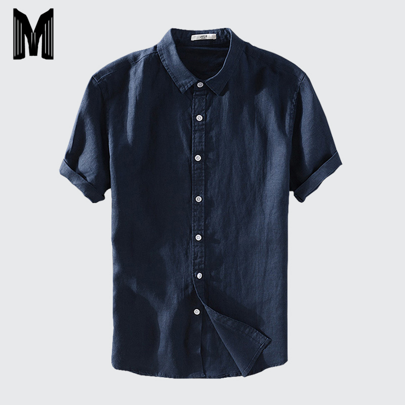Men Casual Shirts Solid White Short Sleeve 45%Cotton 55%Linen Plus Size M-4XL Dress Shirts Y007