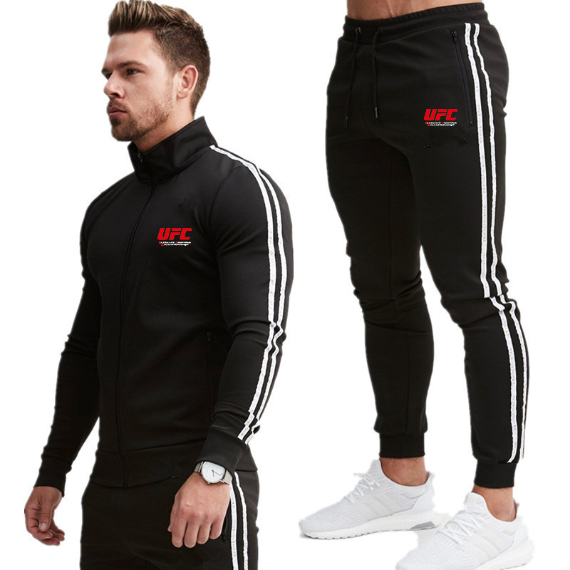 2020 Men's Fashion Brand Long Sleeve Hoodies + Stripe Pants Set Male Tracksuit Sports Suit Gym Set For Men Casual Sports Suit