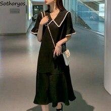 Robe noire pour femmes, grande taille 4XL, ample, Patchwork, mode col coréen, Style coréen Chic Simple, Harajuku