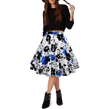 Women Retro Floral Print Pleated Skirts Plus Size High Waist Skirt Skater 50s 60s Vintage Midi Skirts FS0223 retro floral print skater pin up dress