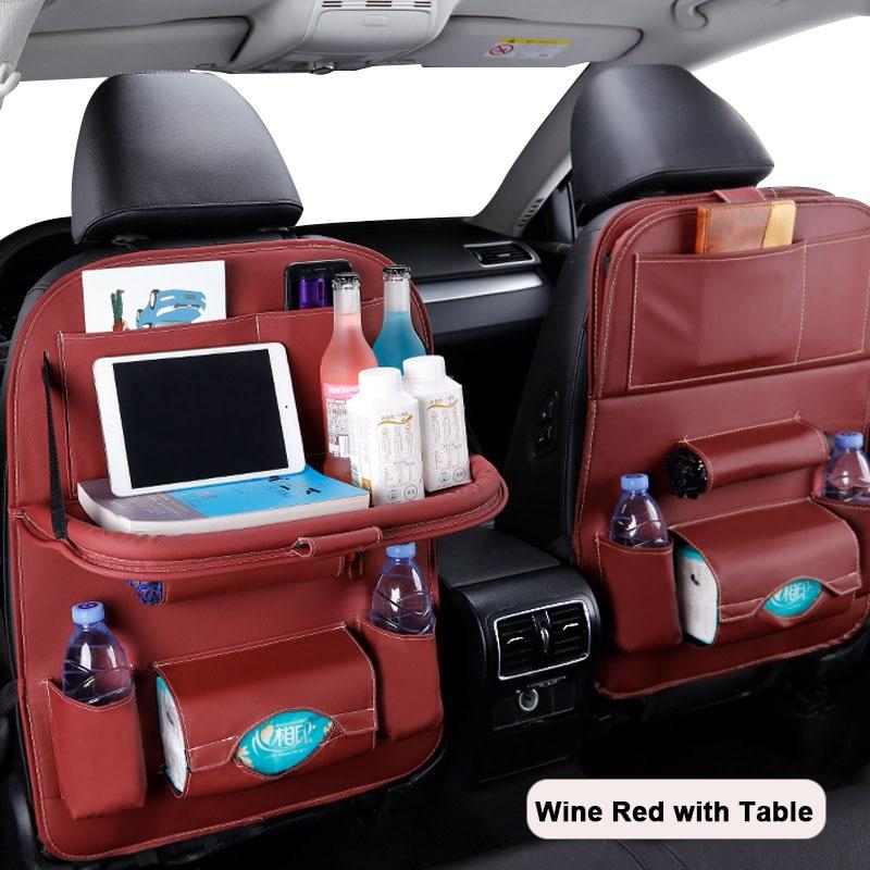 Car Seat Back Organizer Leather Pad Bag