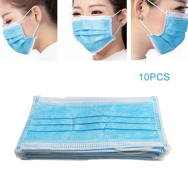 10 pcs 3 Layer Disposable Mouth Mask Daily Breathing Safety dust-proof flu Non-woven Fabrics Travel Mouth Mask