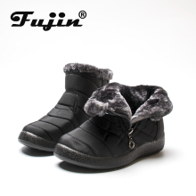 Fujin Winter Boots Women Waterproof Velvet  Cotton Warm Female Zip Large Size Casual Ladies Snow