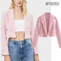 Withered england style vintage pink tweed short solid blazer feminino blazer women blazer mujer 2019 women blazers and jackets