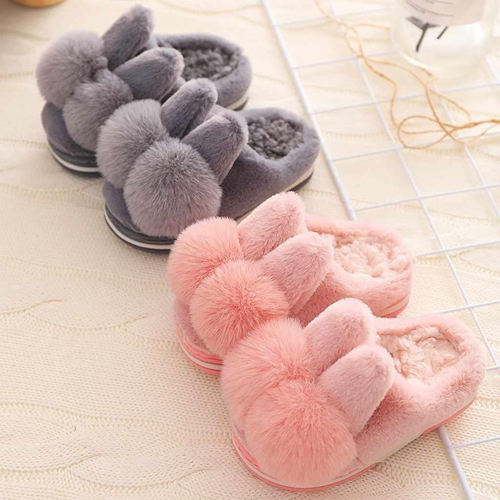 Keluarga Chidren Sandal Hot Sale Anak Bayi Lucu Kartun Kelinci Sepatu Musim Dingin Hangat Indoor Sandal Sepatu