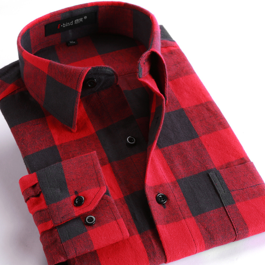 2020 New Spring Winter Flannel Plaid Shirt Men Shirts Long Sleeve Chemise Homme Slim Fit Cotton Mens Checkered Shirts