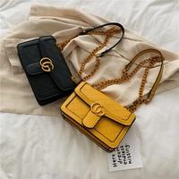 Women Bags Leather Embroidery Messenger Bag Girl Shoulder Bags Female Bag Chain Shoulder Strap Fashion G Letter Wallet Phone Bag