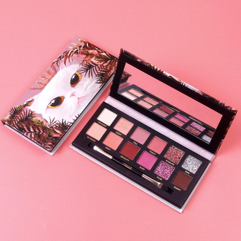 Eyeshadow Pallete 12 Color Colorful Waterproof Concealer Makeup Pallete Lasting-Effect Eye Shadow Animal Cat Eyeshadow