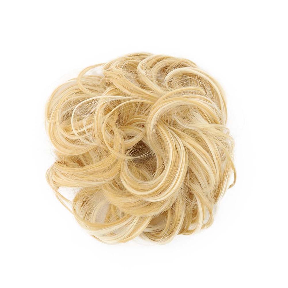 Livre Beleza Curly Chignon Mulheres Rubber Band 613 # Loira Extensões de Cabelo Sintético Bun Buns Cabelo Calor Fibra Resistente GS-Q5