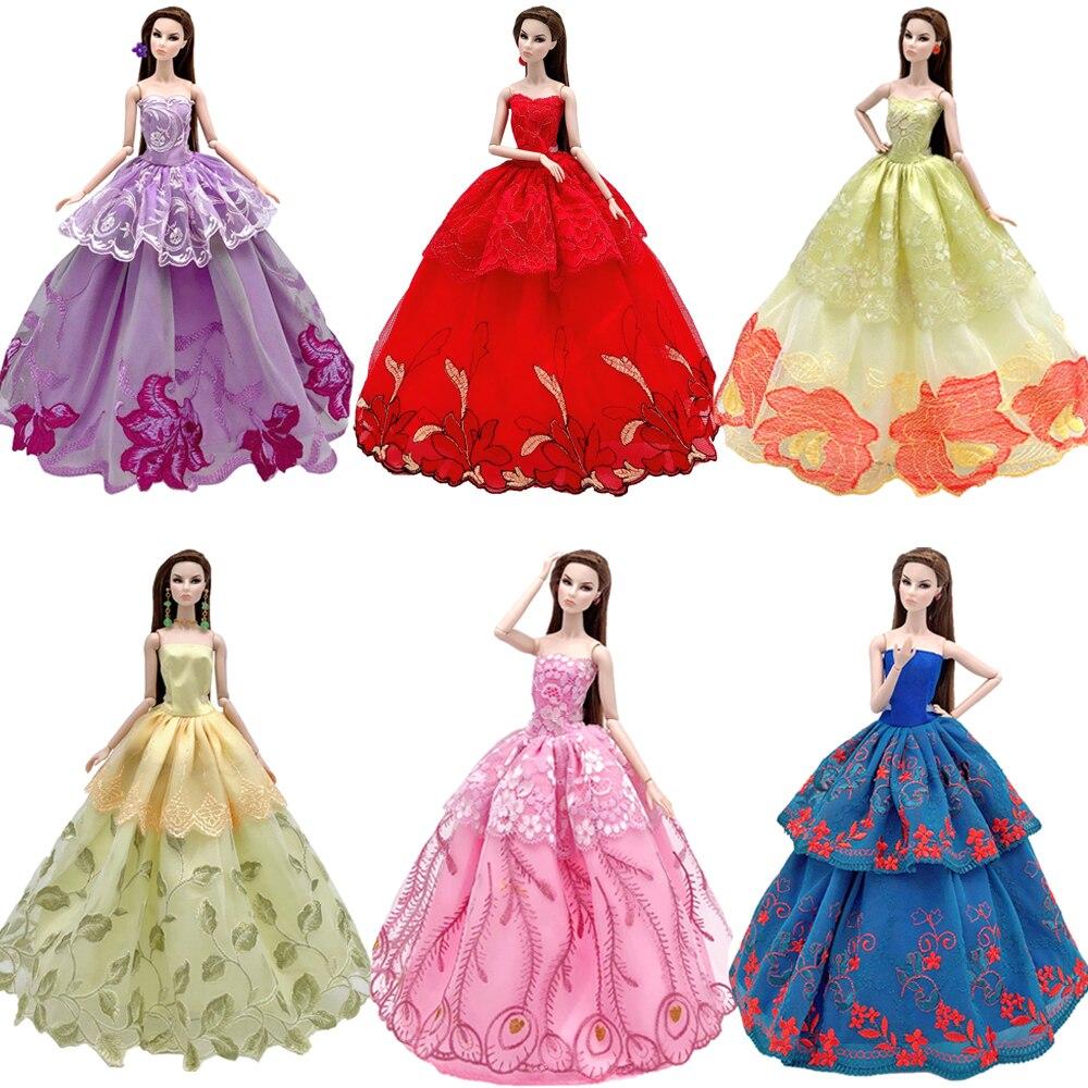 NK One Pcs 2019 princesse robe de mariée Noble robe de fête pour Barbie poupée Design de mode tenue meilleur cadeau pour fille poupée JJ