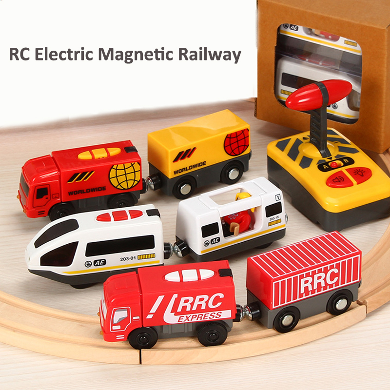 RC Electric Magnetic Railway Toys With Light And Sound Compatible With Thom Wooden Tracks Rail Car Toys For Children Gift