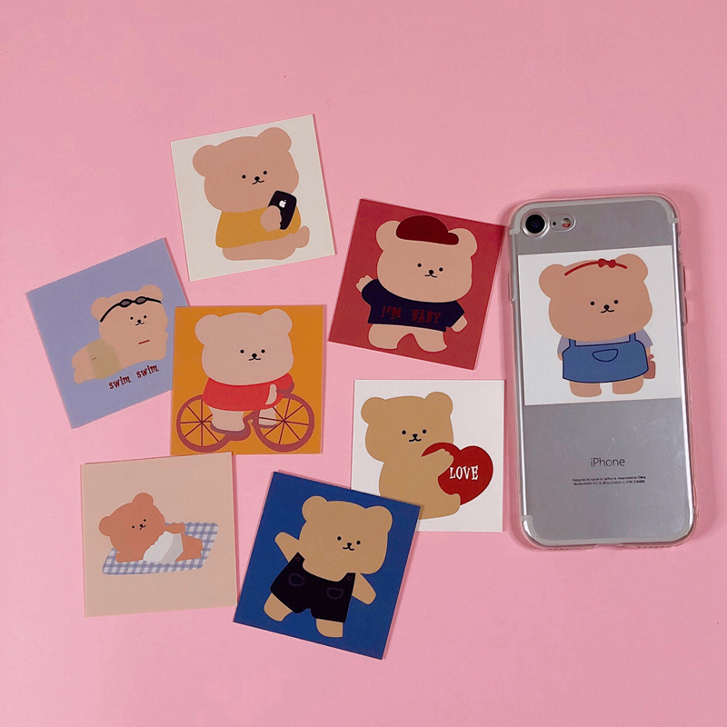 8Pcs 6*6cm Korean Cartoon Kawaii Fat Bear INS Album HD Photo Card Photocard