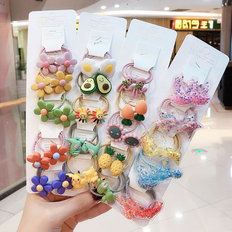 1set Fashion New Women Girls Elastic Hair Rubber Bands Accessories For Children Kids Tie Hair Ring Rope Headdress Scrunchies