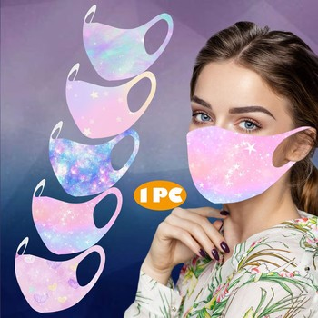 1PC Adult Printed Ice Silk Mask Pretty To Protect Against Dusts And Haze Mask Face Shiled Multiple Proteccion High-quality image