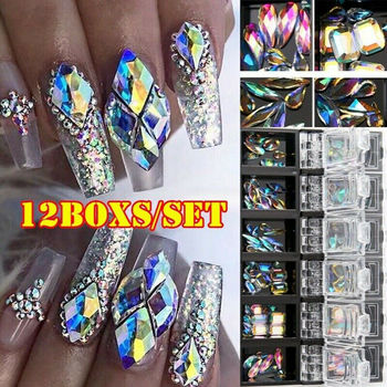 12pcs AB Diamond Gem Nail Glitter Rhinestone Glass Art Deco 3D Accessories