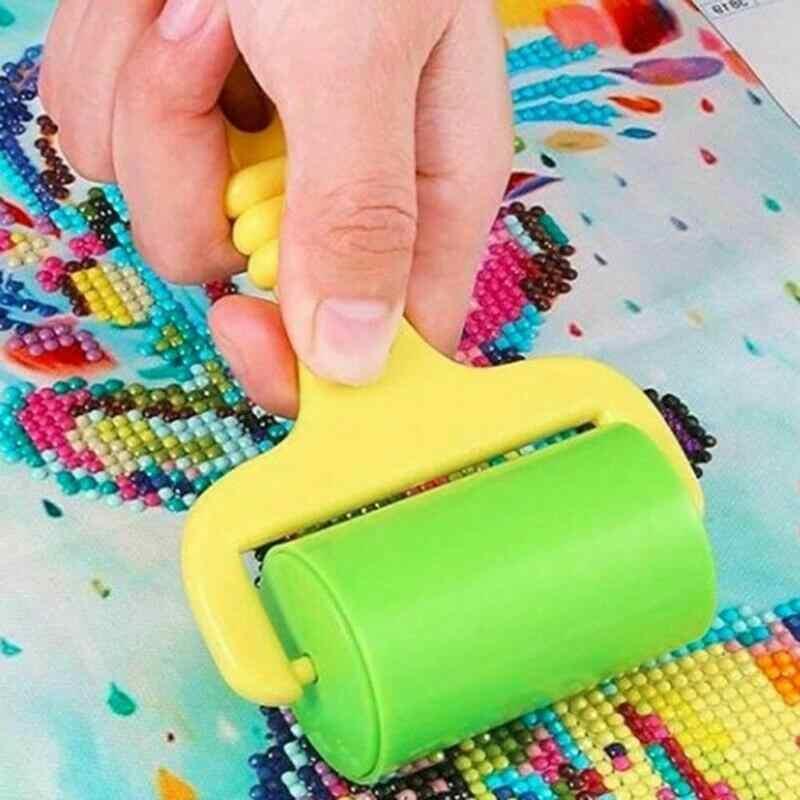 1pc diy ferramenta de pintura diamante rolo plástico cor roda plasticina molde argila montagem do floco de neve lama diy para cerâmica