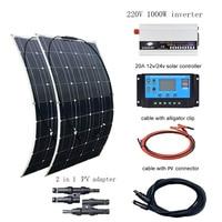 BOGUANG 220V solar panel 200w 12V 20A Controller 230V 1000W Inverter 100w Solar Panels kit system for home para casa con bateria