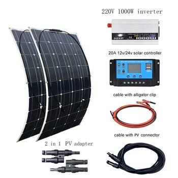 цена на BOGUANG 220V solar panel 200w 12V 20A Controller 230V 1000W Inverter 100w Solar Panels kit system for home para casa con bateria