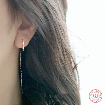 925 Sterling Silver 14k Gold Plating Inlaid Crystal French Diamond Tassel Ear Line Women Retro Classic Party Jewelry Accessories 1