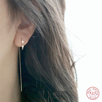 Women Crystal French Diamond Ear Line Jewelry 925 Silver Jewelry