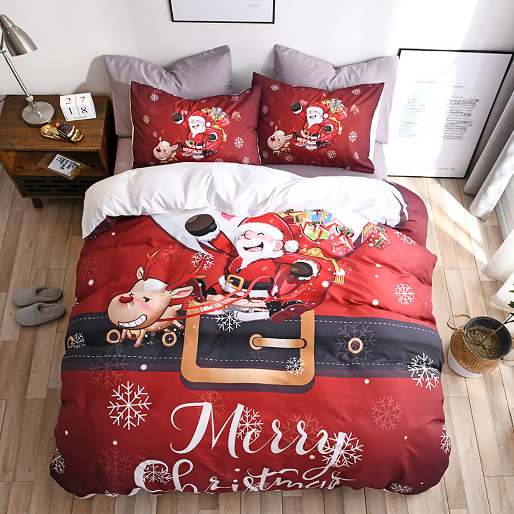 Christmas Bedding Double Bed Set Santa Claus Quilt Cover Sets Queen Size Bed Linen Red King Size Christmas Bedding