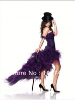 free shipping 2019 new fashion vestidos tulle feathers one shoulder Formal sexy purple short party gown prom bridesmaid Dresses