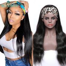 Peruca de cabelo humano em linha reta natural perucas com bandana remy brasileiro completa máquina feita peruca para preto feminino xcsunny