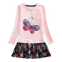 цены retail girl dress nova brand pink flower long sleeve kids dress for girls clothes children clothing girl party princess dress