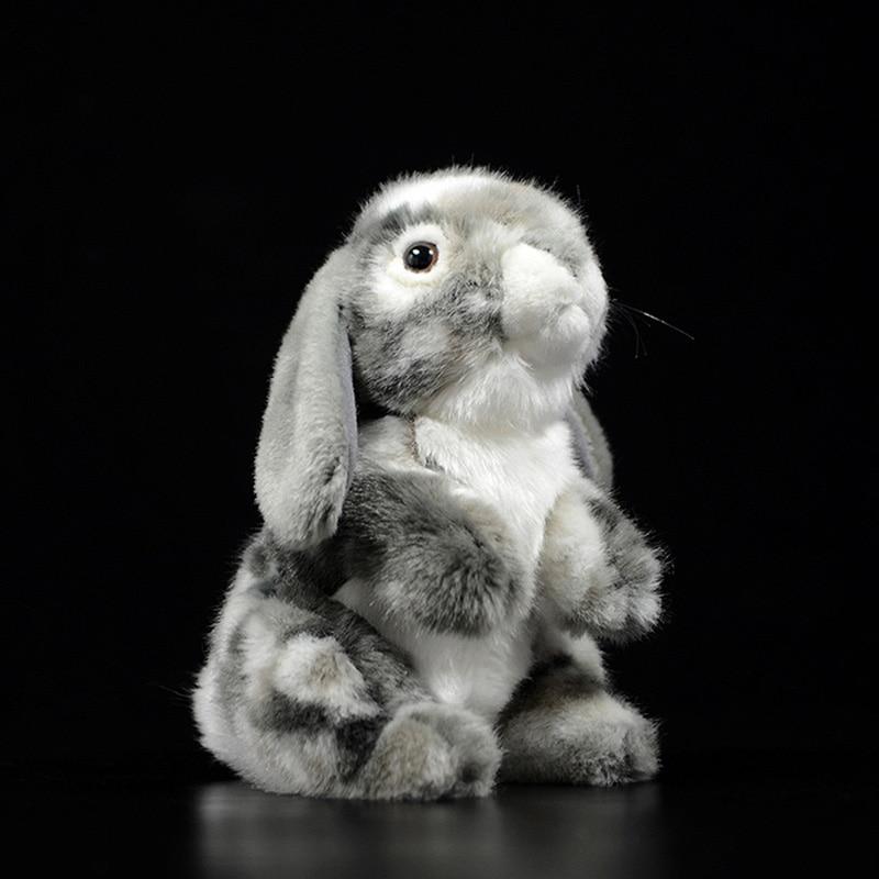 19cm Sweet Cute Grey Holland Lop Eared Rabbit Dolls Lifelike Simulation Lovely Bunny Animal Soft Stuffed Plush Toy Kids Gift