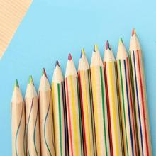 10PCS Rainbow Pencil Fine Lead Four-Color Multicolor Student DIY Graffiti #BW