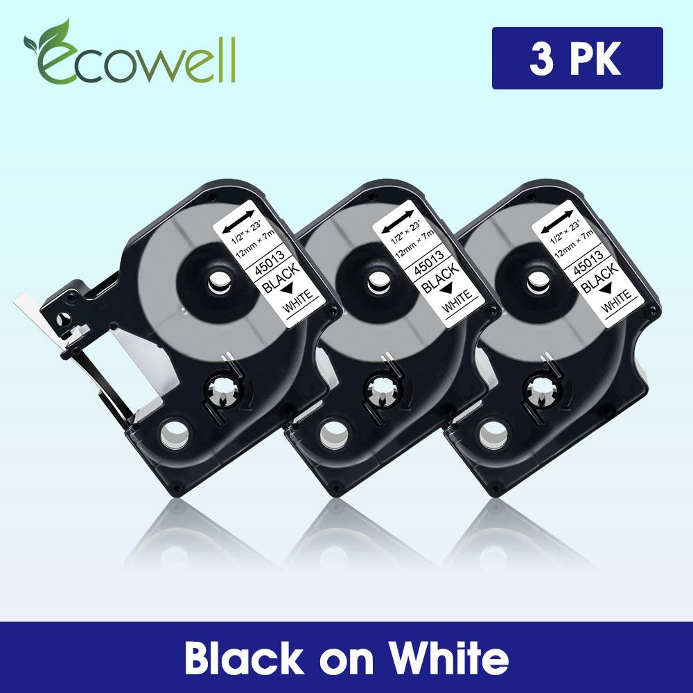 Ecowell 13 цветов совместимый для Dymo D1 45010 45013 45020 45021 45024 12 мм кассета этикеток для Dymo label manager LM 160 280 210D