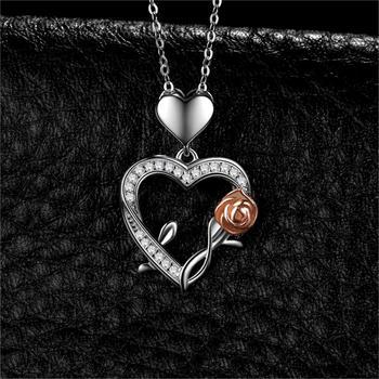 Heart Rose Silver Pendant Necklace  1
