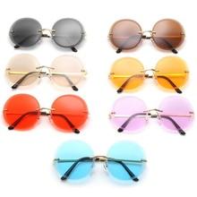 Fashion Oversize Sunglasses Rimless Sun Glasses Anti-UV Spectacles Round Eyeglasses Color Lens Eyewear Adumbral Ornamental A++